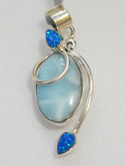 Larimar Pendant 7 with Fire Opal