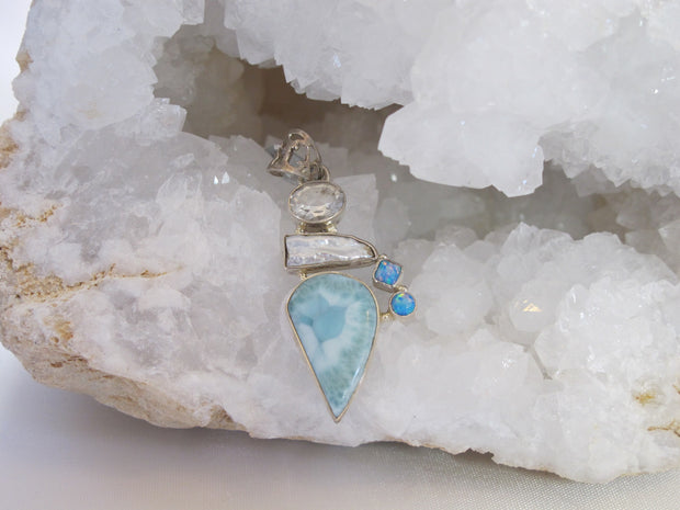 Larimar Pendant with White Topaz, Fire Opal and Biwa Pearl
