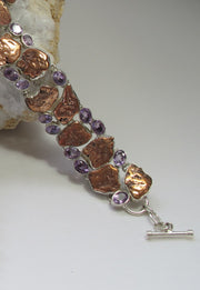 Native Copper and Amethyst Quartz Bracelet