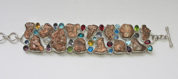 Native Copper Bracelet with Blue Topaz, Peridot, Citrine and Amethyst