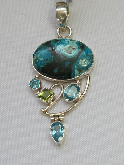 Chrysocolla Pendant 2 with Blue Topaz and Peridot