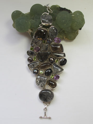 Rutilated Quartz and Smoky Quartz Bracelet with Peridot, Pearl and Purple Amethyst Gemstones