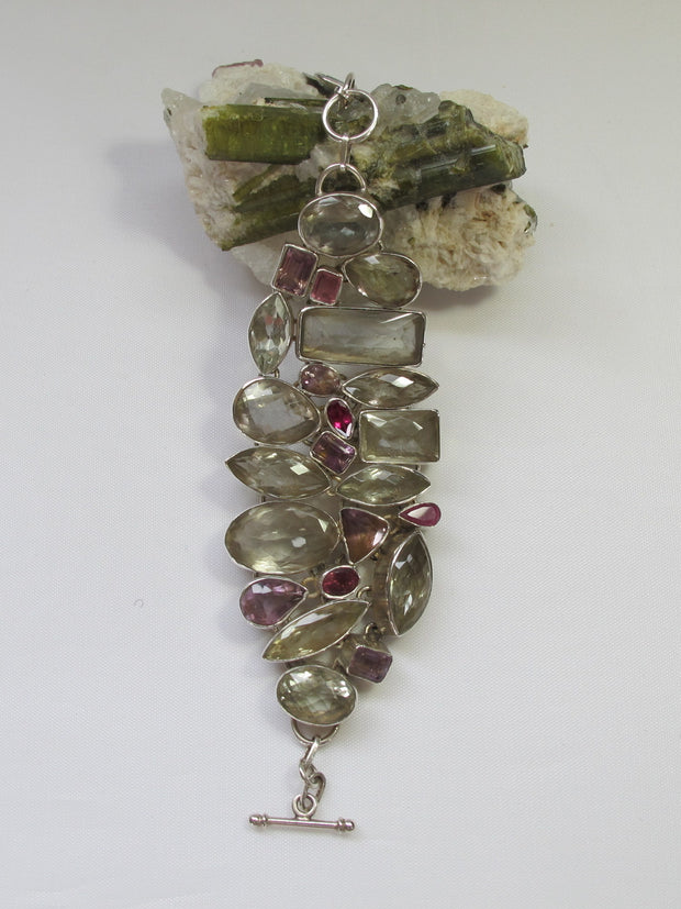 *Green Amethyst Quartz Crystal Bracelet with Pink and Lavender Tourmaline Gemstones
