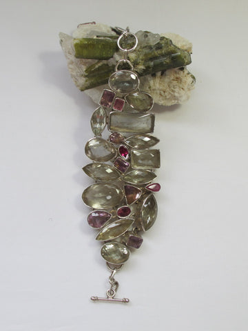 *Green Amethyst Quartz Bracelet with Pink and Lavender Tourmaline Gemstones