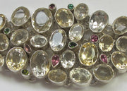 Faceted Citrine Quartz Crystal and Tourmaline Gemstones Bracelet