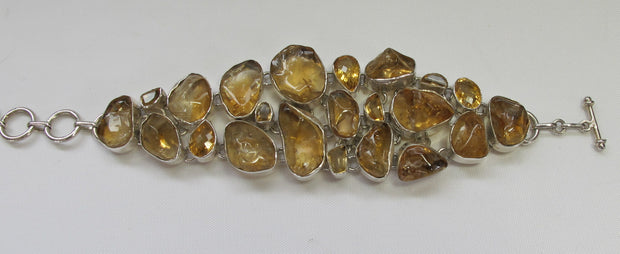 Natural Polished Rough Citrine Quartz Crystal Bracelet 1