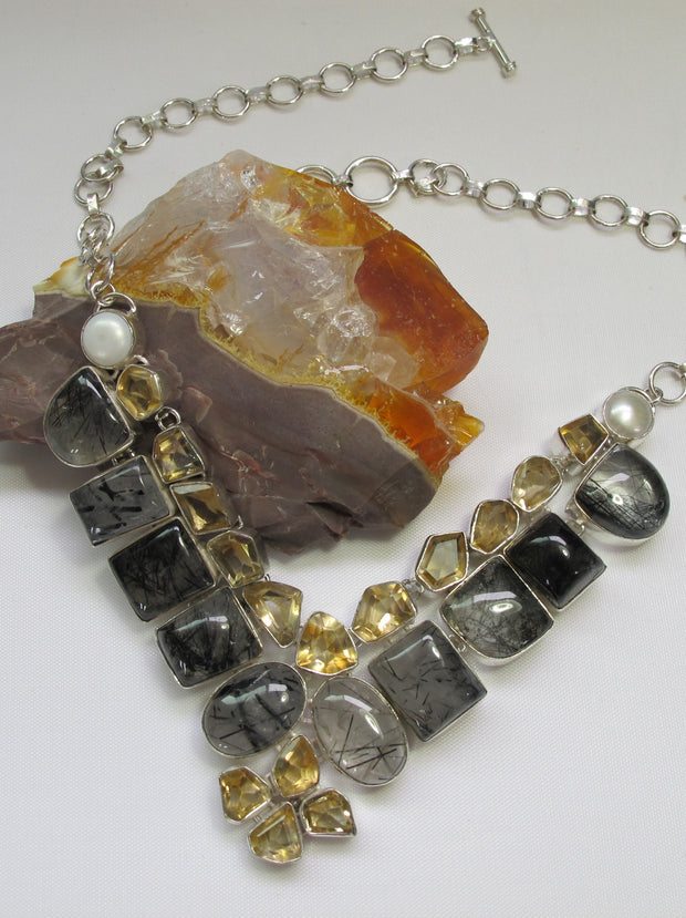 Rutilated Quartz and Rough Citrine Quartz Crystal Gemstone Necklace 1