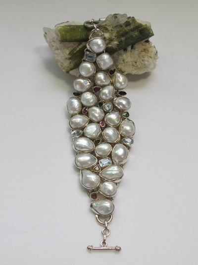 Mabe Pearl and Blue Topaz Bracelet with Tourmaline Gemstones