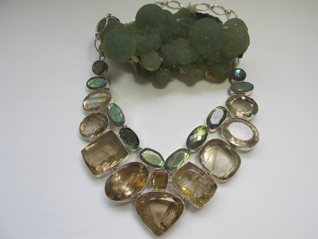 Golden Rutilated Quartz Crystal and Faceted Labradorite Gemstones Necklace