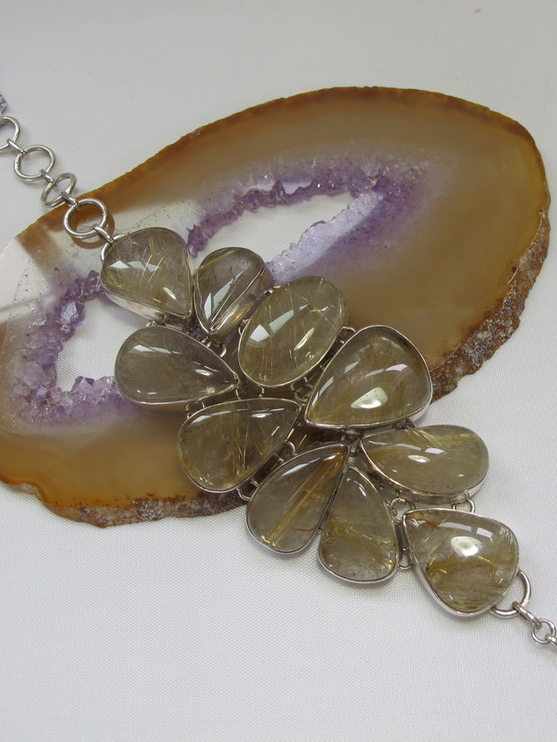 Golden Rutilated Quartz Crystal Gemstones Bracelet 1