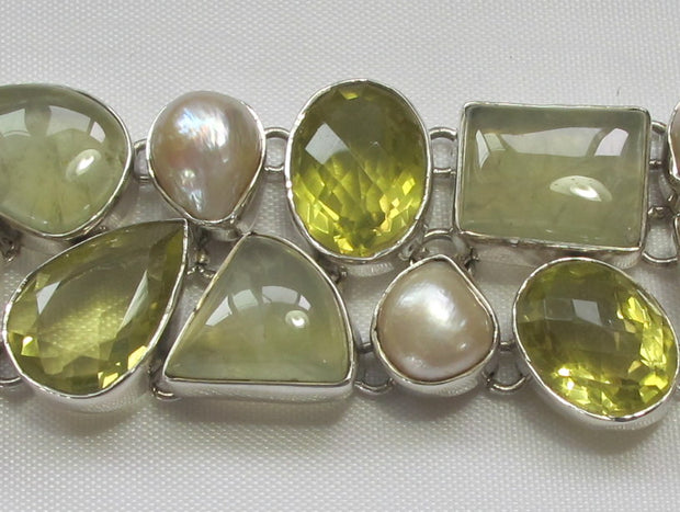 Prehnite Bracelet 2 with Citrine Quartz and Mabe Pearls