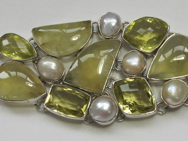 Prehnite Bracelet 3 with Citrine Quartz and Mabe Pearls