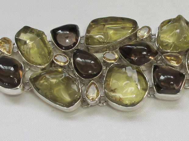 Honey Citrine and Smoky Quartz Crystal Gemstones Bracelet