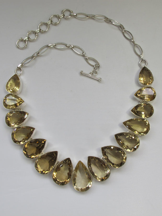 Honey Citrine Quartz Crystal Gemstones Necklace