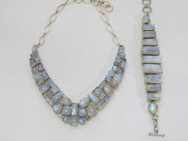 Moonstone Mosaic Necklace 1, Square center stones
