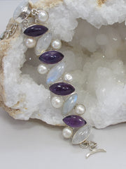 Moonstone Bracelet 5 with Amethyst Quartz and Pearl