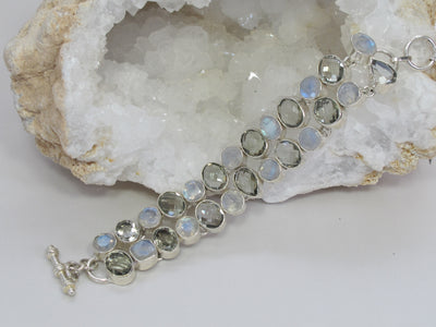 Moonstone and Green Amethyst Quartz Bracelet
