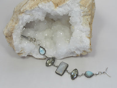 Larimar and Moonstone Bracelet 11 with Green Amethyst Quartz