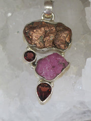 Native Copper Pendant 6 with Pink Tourmaline and Garnets