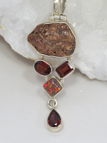 Native Copper Pendant 2 with Fire Opal and Garnets