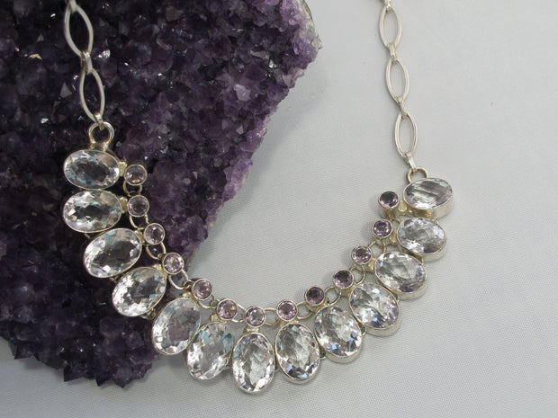 *White Topaz and Amethyst Quartz Necklace