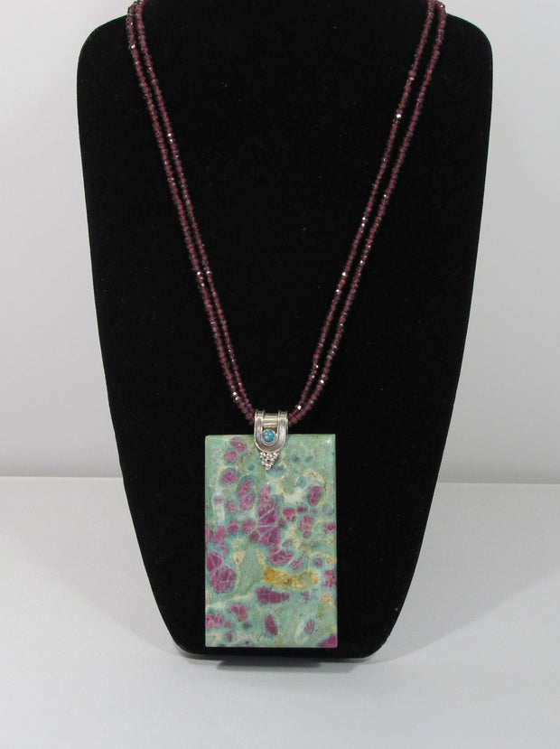 Ruby in Fuchsite Gemstones Pendant with Fire Opals and beaded Garnet strands