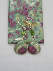 Ruby in Fuchsite Earring Set 1 with Peridot
