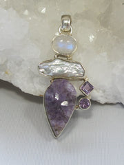 Amethyst Quartz Pendant 3 with Pearl and Moonstone