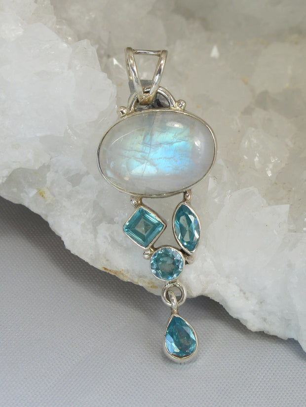 Moonstone Pendant 2 with Blue Topaz