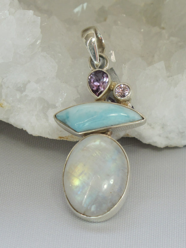 Moonstone and Larimar Pendant with Amethyst Quartz