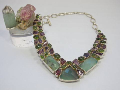 Tourmaline and Prehnite Gemstones Necklace