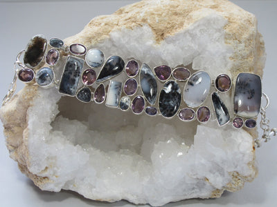 Dendritic Opal Bracelet 2 with Amethyst Quartz