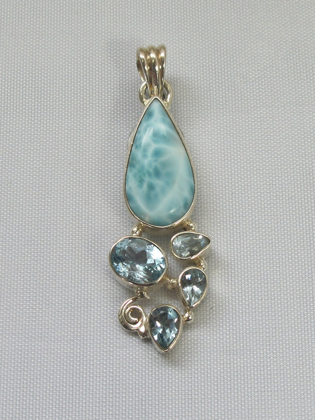 Larimar Pendant 10 with Blue Topaz