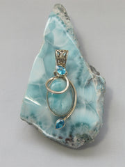 Larimar Pendant 11 with Blue Topaz