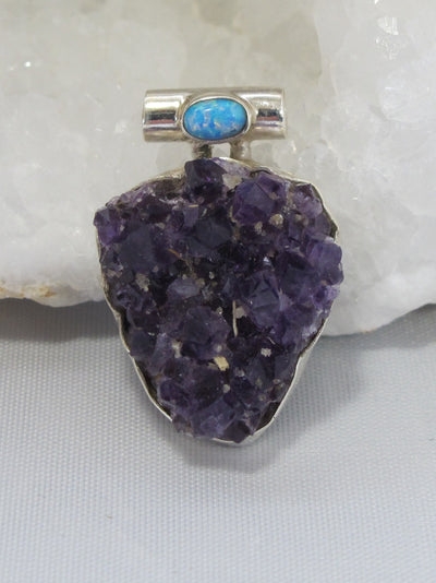 Amethyst Quartz Pendant 7 with Fire Opal