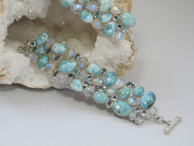 Larimar and Moonstone Bracelet 5 with Blue Topaz