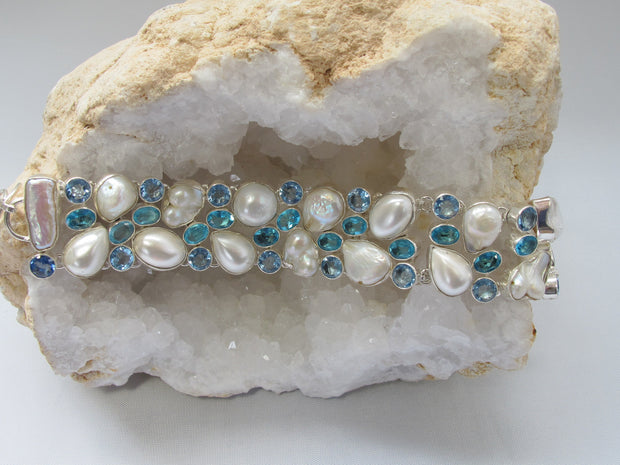 Blue Topaz Bracelet 3 with Pearls