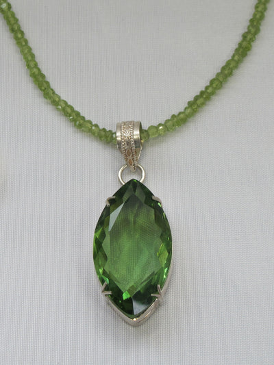 Large Marquis Peridot Quartz Pendant with beaded Peridot Necklace