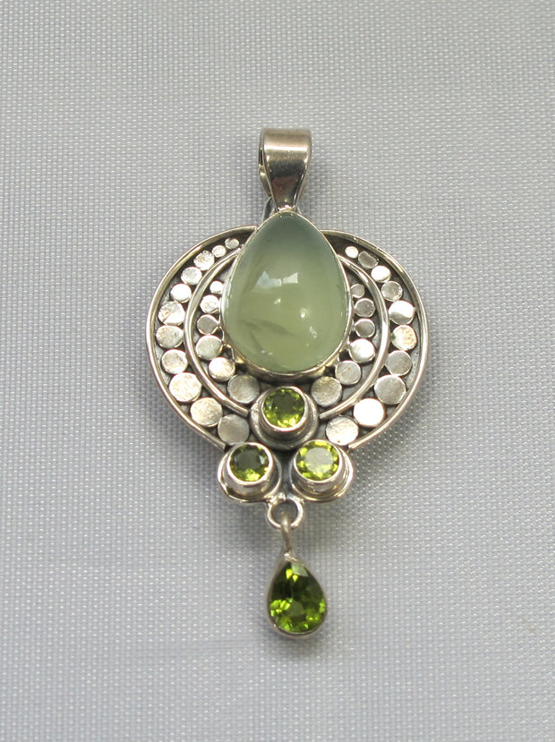 Prehnite and Sterling Pendant 1 with Peridot
