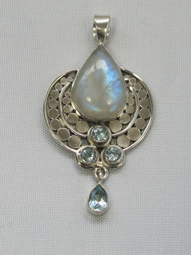 Moonstone and Sterling Pendant with Blue Topaz