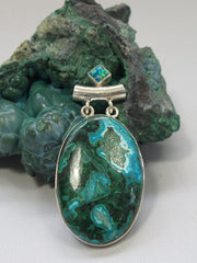 Chrysocolla Pendant 3 with Fire Opal