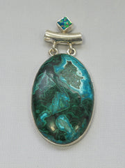 Chrysicolla Pendant 3 with Fire Opal