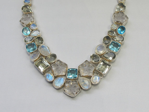 Carved Moonstone and Green Amethyst Quartz Necklace with Blue Topaz