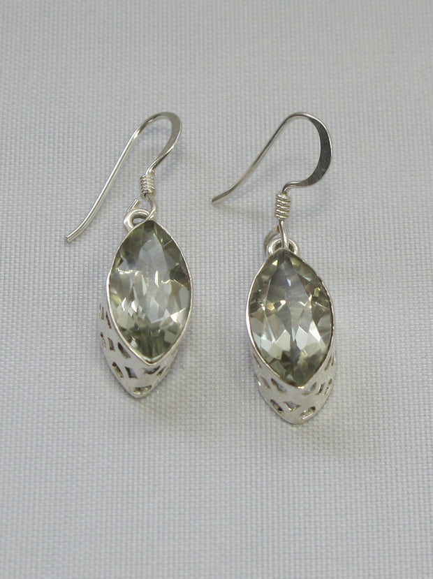 Green Amethyst Quartz Marquis Earring Set
