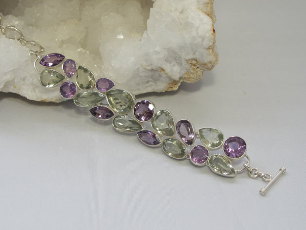 Lavender and Green Amethyst Quartz Bracelet