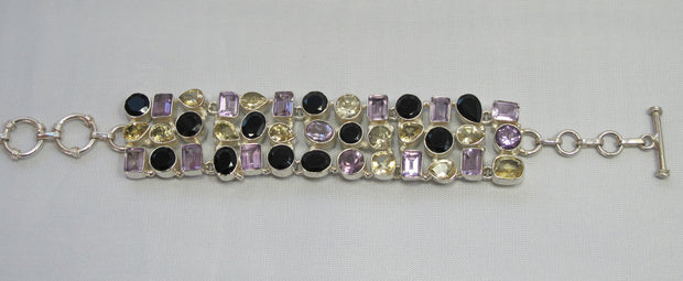 Amethyst and Citrine Quartz and Onyx Bracelet