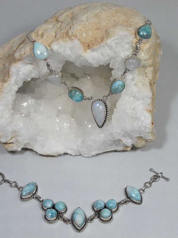 Delicate Larimar Necklace 1 with Moonstone