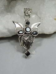 Angel Sterling and Meteorite Pendant 3 with Onyx and Topaz
