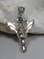 Angel Sterling and Meteorite Pendant 2 with Onyx