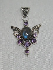 Angel Sterling and Labradorite Pendant 1 with Amethyst Quartz